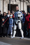People of 501st Legion take part in the Star Wars Parade in Milan, Italy Royalty Free Stock Image