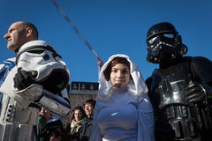 People of 501st Legion take part in the Star Wars Parade in Milan, Italy Royalty Free Stock Images