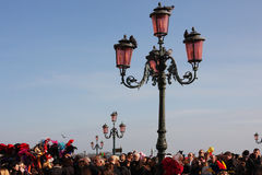 People on the St Mark`s Square Piazza San Marco during the carnival in Venice, Italy Stock Photos