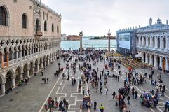 People on St. Mark`s Square Piazza San Marco, Venice, Italy royalty free stock photo