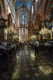 People in the St. Mary's Basilica, Krakow, Poland Royalty Free Stock Image