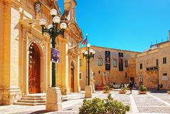 People at St Paul Church in Rabat on Malta. Rabat, Malta - April 4, 2014: People at St Paul Church in Rabat on Malta Island Stock Image