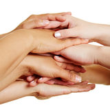 People stacking hands as teamwork concept Royalty Free Stock Images