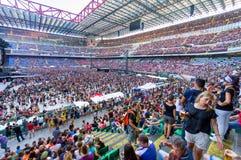 People on the stadium awaiting royalty free stock photo