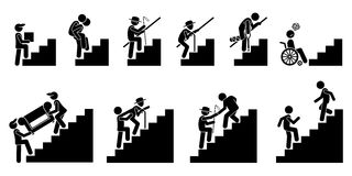 People on Staircase or Stairs. Cliparts pictogram depicts different person in actions on stairs stock illustration