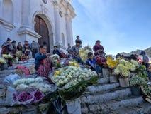 CHICHICASTENANGO, GUATEMALA FEBRUARY 3 2019: People on the Stairs of the Church Santo Tomas, February 3 2019 Chichicastenango,. People on the Stairs of the royalty free stock photo