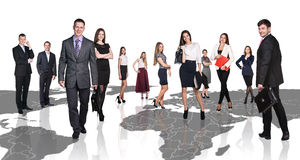 People stand on the big map. Stock Images