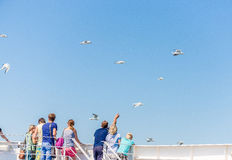 People stand on the ferry and watch the seagulls  blue sky background Stock Photo