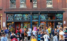 People Stand in Front of Blues Music Mural on the World Famous Historic Beale Street Stock Images