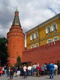 People stand by the Moscow Kremlin wall. Royalty Free Stock Images