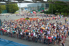 People stand in queue to Oceanarium in the Park of VDNH in Moscow. Russia. stock photography