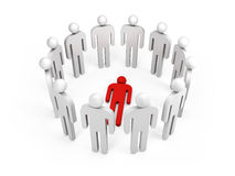 People stand in ring with one red lying person, 3d Stock Photos