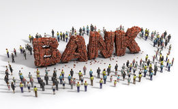 People standing around of bank ruin Royalty Free Stock Image