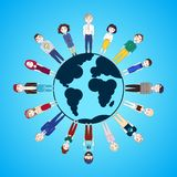 People Standing Around Globe Isolated On Blue Background Earth Day Concept. Flat Vector Illustration Stock Photography