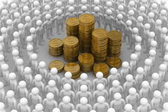 People standing around of money. Royalty Free Stock Photo