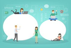 People standing around two big speech bubbles royalty free illustration