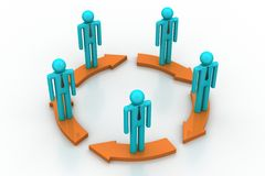 People standing in arrow circle Royalty Free Stock Photos