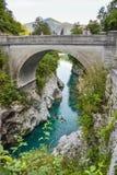 Historic Napoleon bridge over the Soca river near Kobarid, Slovenia. royalty free stock photos