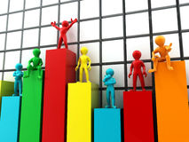 People standing on different levels of the chart Stock Images