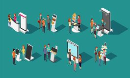 People standing at expo promotional stands vector 3d isometric set. Exhibition promotional and demonstration panel, promo desk for shop illustration Royalty Free Stock Image