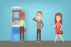 People standing in line at ATM illustration. People standing in line at ATM. Queue to the ATM machine. Automatic money transaction. Flat vector illustration stock illustration