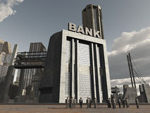 People standing near bank in destroyed city Stock Photo