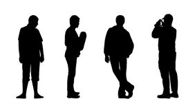 People standing outdoor silhouettes set 13 Stock Image