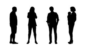 People standing outdoor silhouettes set 9 Royalty Free Stock Photo
