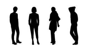 People standing outdoor silhouettes set 10 Royalty Free Stock Photos