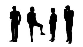 People standing outdoor silhouettes set 11 Royalty Free Stock Photo