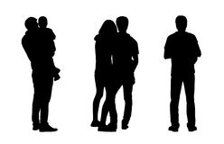 People standing outdoor silhouettes set 1 Stock Photo