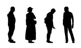 People standing outdoor silhouettes set 15 Stock Photos