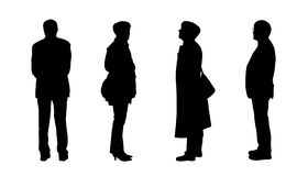People standing outdoor silhouettes set 8 Stock Images