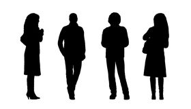People standing outdoor silhouettes set 7 Stock Photos