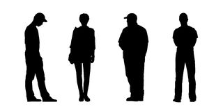 People standing outdoor silhouettes set 3 Royalty Free Stock Image
