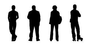 People standing outdoor silhouettes set 4 Royalty Free Stock Images