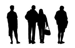 People standing outdoor silhouettes set 2 Stock Images