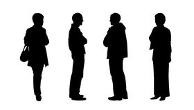 People standing outdoor silhouettes set 5 Stock Image