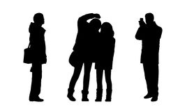 People standing outdoor silhouettes set 6 Stock Photography