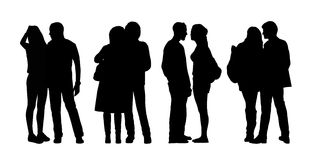 People standing outdoor silhouettes set 31 Stock Image