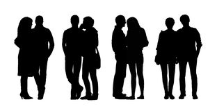 People standing outdoor silhouettes set 30 Royalty Free Stock Image