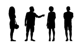 People standing outdoor silhouettes set 36 Stock Image