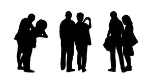 People standing outdoor silhouettes set 20 Stock Photos