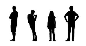 People standing outdoor silhouettes set 24 Royalty Free Stock Photography