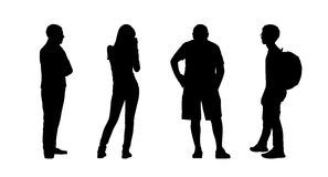 People standing outdoor silhouettes set 22. Silhouettes of ordinary people of different age standing outdoor in different postures, profile and back views Royalty Free Stock Image