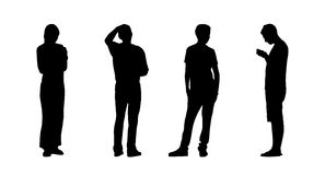 People standing outdoor silhouettes set 23 Stock Photography