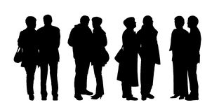People standing outdoor silhouettes set 28. Silhouettes of ordinary senior couples standing outdoor in different postures, talking, looking Stock Photography