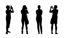 People standing outdoor silhouettes set 18 Stock Images
