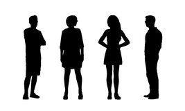 People standing outdoor silhouettes set 37 Stock Image