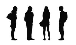 People standing outdoor silhouettes set 34 Stock Image